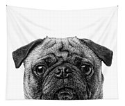 Pug Dog Square Format Tapestry