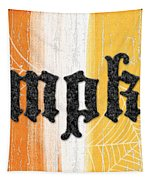 Pumpkins Sign Tapestry by Linda Woods