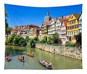 Punts On River Neckar In Lovely Old Tuebingen Germany Tapestry