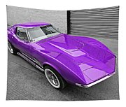 Purple 1968 Corvette C3 From Above Tapestry