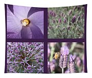 Purple Flowers Collage Tapestry