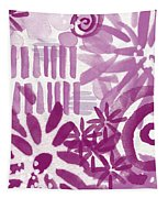 Purple Garden - Contemporary Abstract Watercolor Painting Tapestry