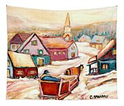 Quebec City Street Scene Caleche Ride In The Village Tapestry