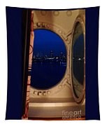 Queen Mary Port Hole Night  Tapestry