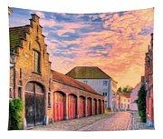 Quiet Village Sunset Tapestry