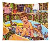 Rabbit In The Pool Tapestry