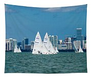Racing Past Miami Tapestry