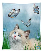 Ragdoll Kitty And Butterflies Tapestry