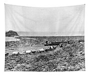 Railroad And Wagon Train Tapestry
