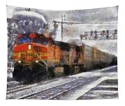 Railroad Bnsf Engine Photo Art Tapestry