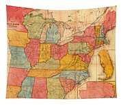 Railroad Map Of The United States 1852 Tapestry