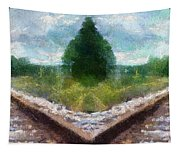 Railroad Tracks Photo Art Tapestry