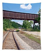Railroad Train Tracks And Trestle Tapestry