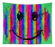 Rainbow Abstract Smiley Face Tapestry