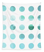 Rainbow Dots Aqua  Tapestry