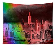 Rainbow On Chicago Mixed Media Textured Tapestry