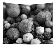 Rainbow Peppercorn Macro Black And White Tapestry