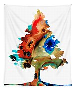 Rainbow Tree 2 - Colorful Abstract Tree Landscape Art Tapestry