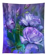 Raindrops On Lavender Roses Tapestry