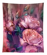 Raindrops On Peach Roses Tapestry