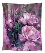 Raindrops On Pink Roses Tapestry