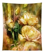 Raindrops On Yellow Roses Tapestry