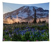 Rainier Wildflower Meadows Pano Tapestry