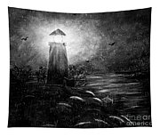 Rainy Night At The Lighthouse Tapestry