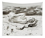 Reclining Nude Study Resting At The Beach Tapestry