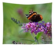 Red Admiral Butterfly On Butterfly Bush Tapestry