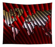 Red And Gold World Map Tapestry
