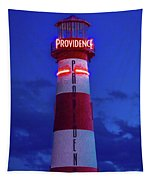 Red And White Lighthouse Shows Neon Tapestry