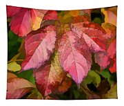 Red Autumn Line Art Tapestry