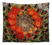 Red Barell Cactus Flowers Tapestry