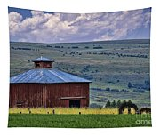 Red Barn And Barbed Wire Tapestry