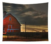Red Barn At Dawn Tapestry
