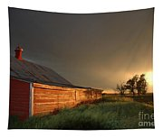 Red Barn At Sundown Tapestry