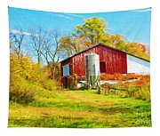 Red Barn In Autumn Tapestry