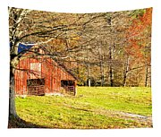 Red Barn In Late Fall Tapestry