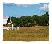 Red Barn In Meadow, Knowlton, Quebec Tapestry