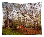 Red Barn In The Smokies Tapestry