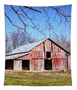 Red Barn On The Hill Tapestry by Cricket Hackmann