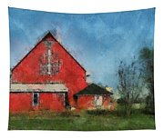 Red Barn Rear View Photo Art 03 Tapestry