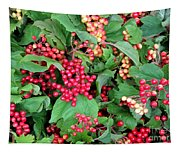 Red Berries And Green Leaves Tapestry