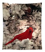 Red Bird In A Snow Covered Tree Tapestry