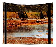 Red Boat At Low Tide Triptych Tapestry