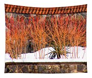 Red Bushes And Rock Wall Tapestry
