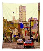 Red Cab On Gerrard Chinatown Morning Toronto City Scape Paintings Canadian Urban Art Carole Spandau Tapestry