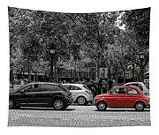 Red Car In Paris Tapestry