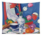 Red Chair And Tulips, C.1919 Tapestry